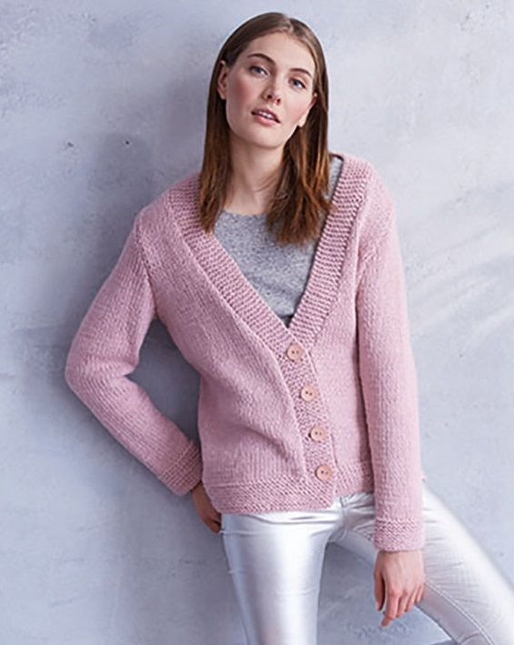 Free Knitting Pattern for an Easy V-Neck Jacket (With ...