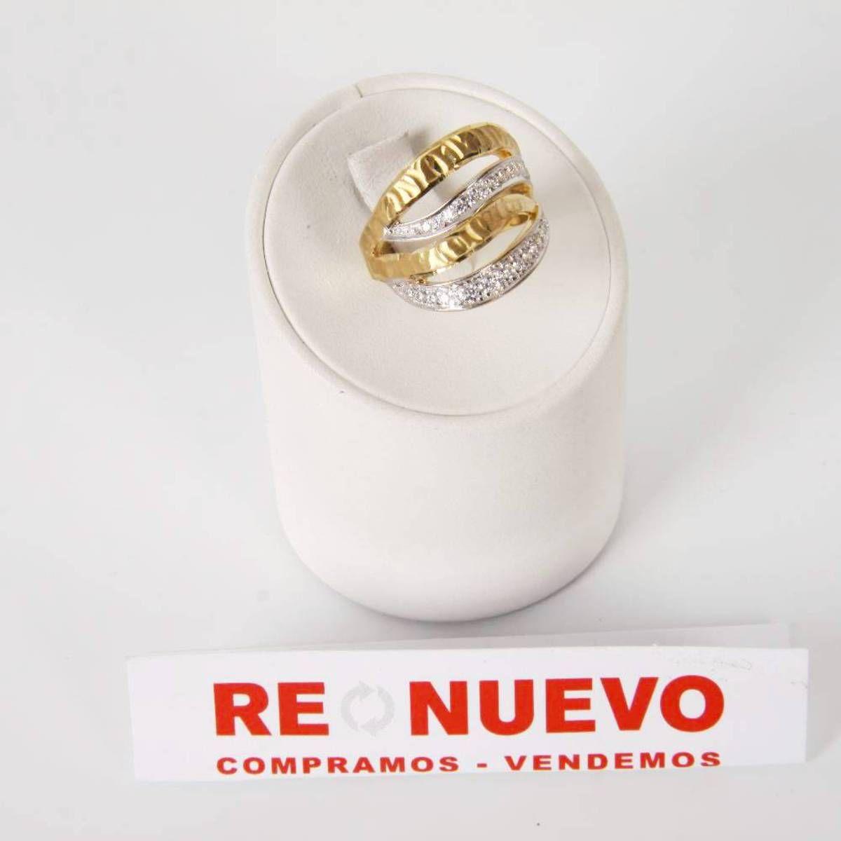 3Anillo de oro #bicolor de segunda mano con circonitas E269717C | Tienda online de segunda mano en Barcelona Re-Nuevo #segundamano
