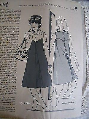 1281 1152 Ancien Patron Femmes D'Aujourd'HUI Robe Evasee PLI Creux T40 44 1967 | eBay