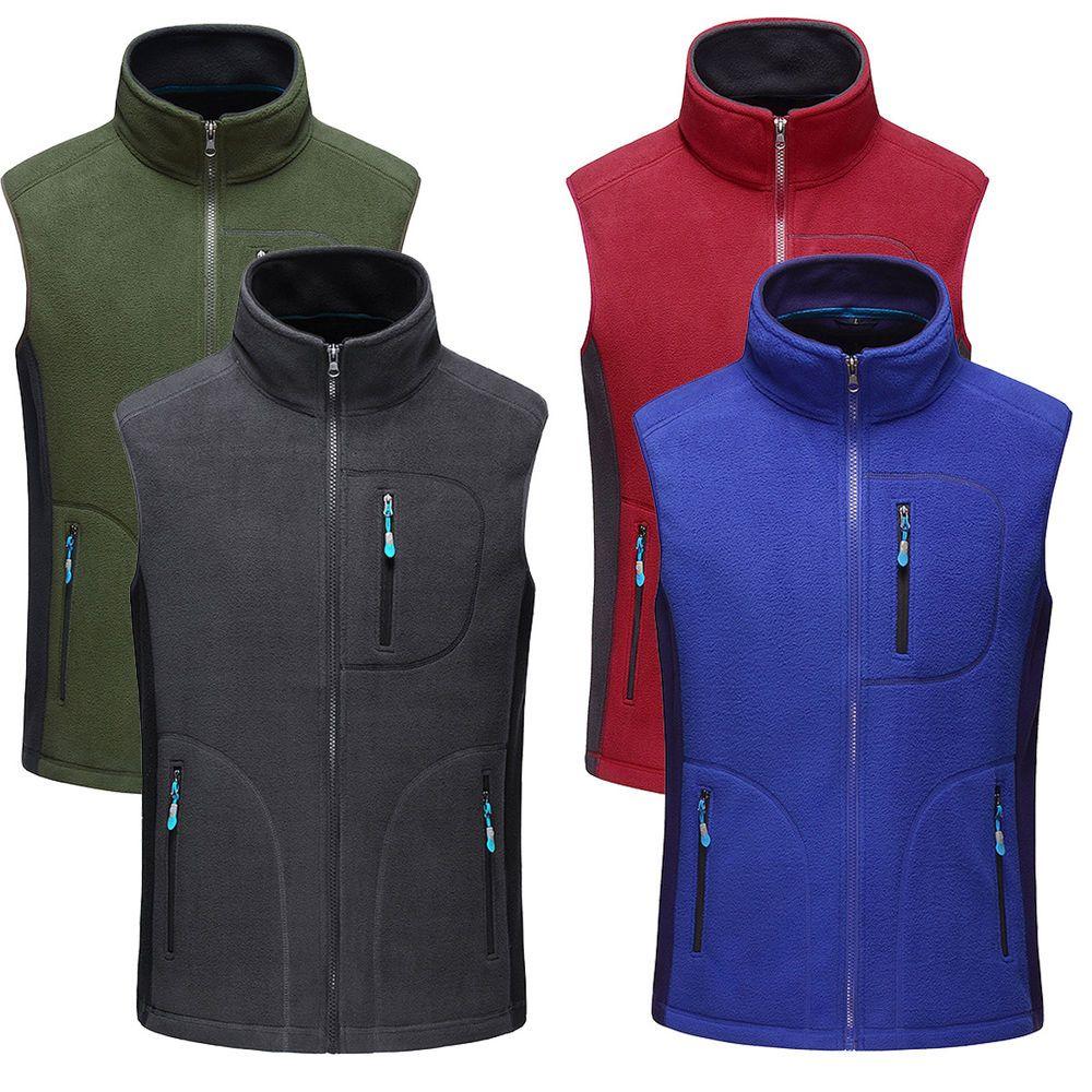 Mens thermal fleece vest sleeveless full zip up outdoor fishing