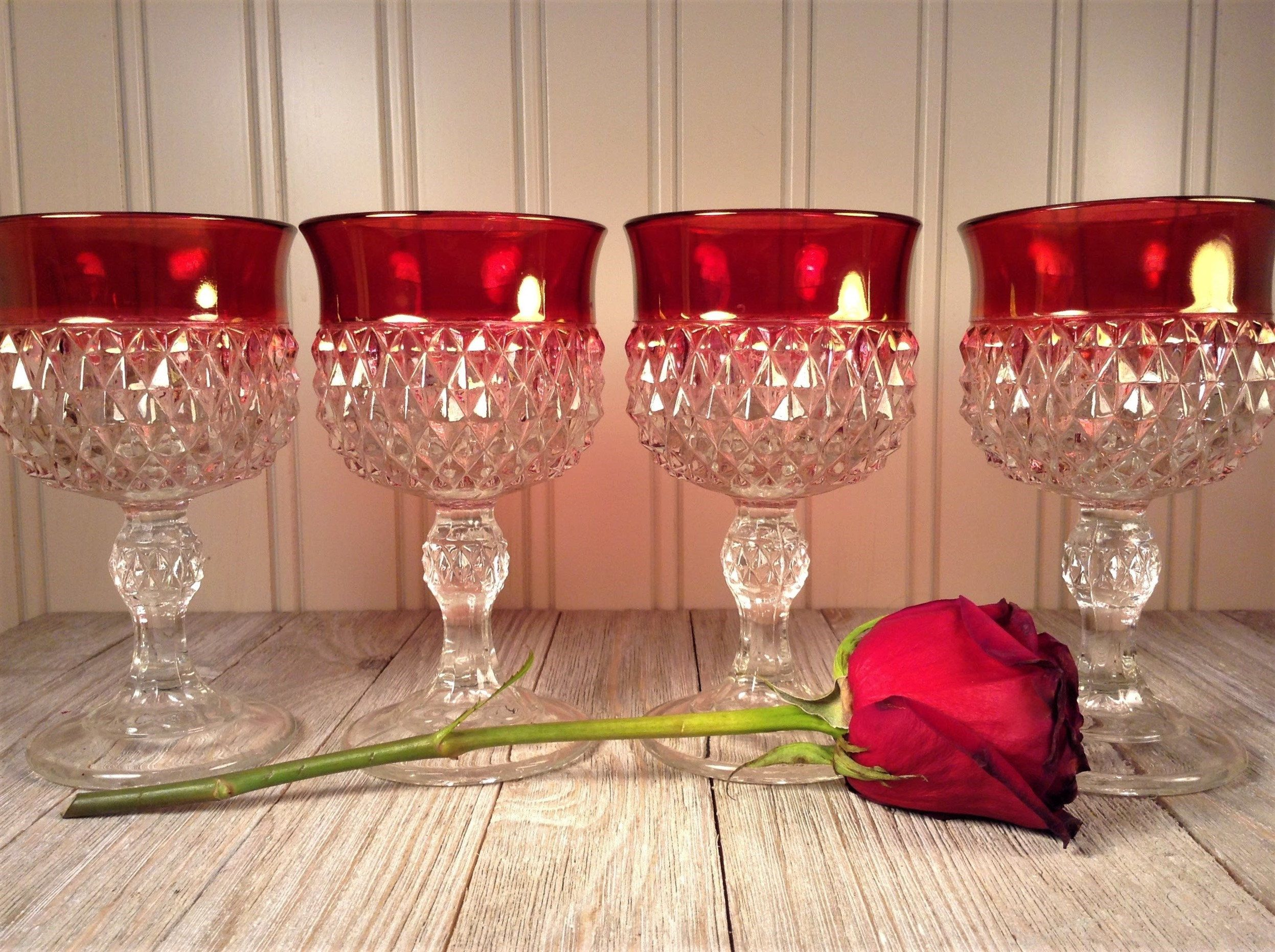 Vintage Red Wine Glasses Set Of 4 Ruby Band Diamond Point Stemware Indiana Glass Ruby Red Flash Diam Vintage Wine Glasses Vintage Wine Glass Red Wine Glasses