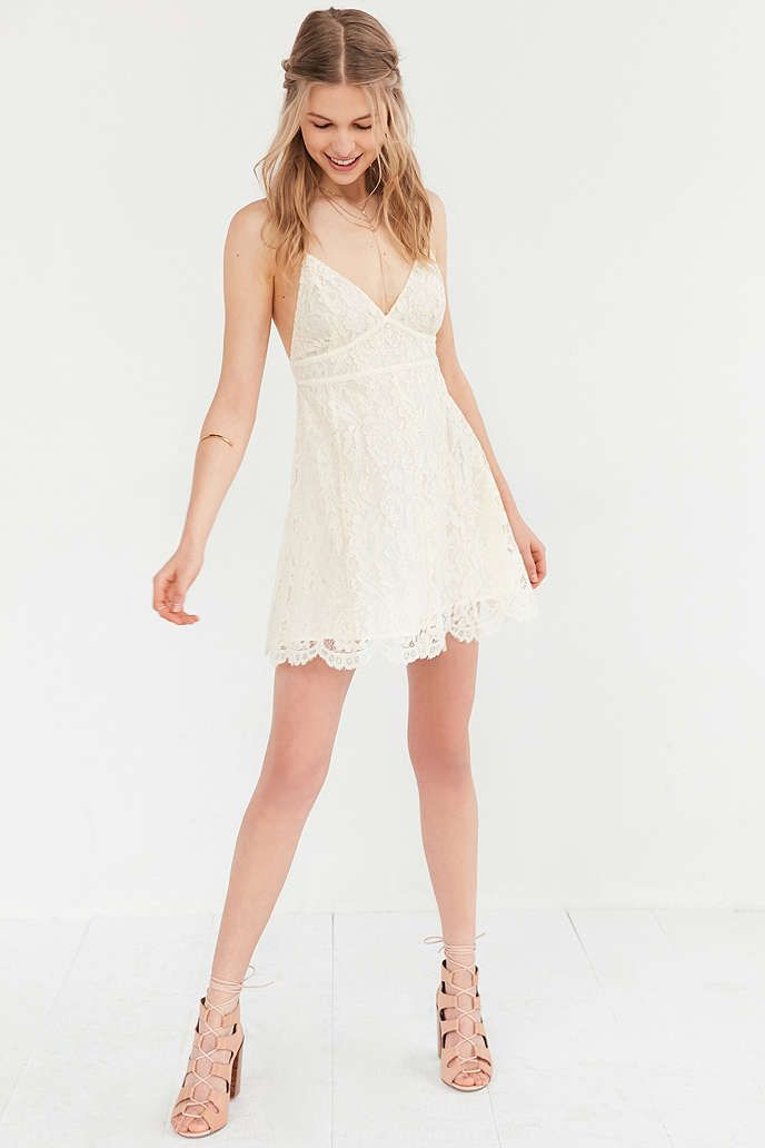Kimchi Blue Valentina Empire Lace Mini Dress Urban Outfitters