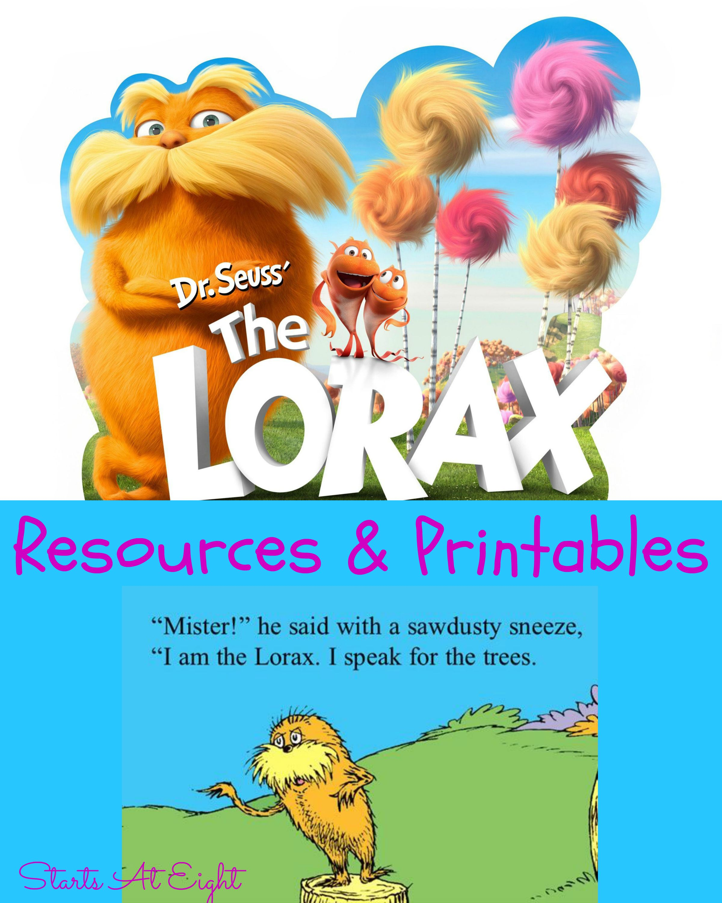 Dr. Seuss\'s The Lorax Resources & Printables | Pinterest | Lorax ...