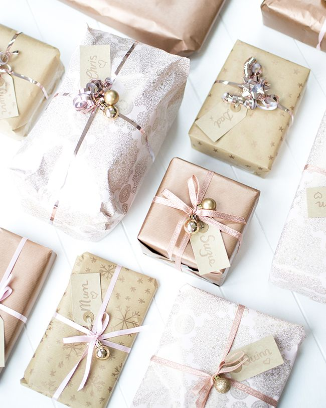 Pretty Christmas Gift Wrapping Pink and Rose Gold  I #prettypresent #rosegoldgiftwrap #goldgift… | Gift wrapping inspiration, Pink gift wrap, Christmas gift wrapping