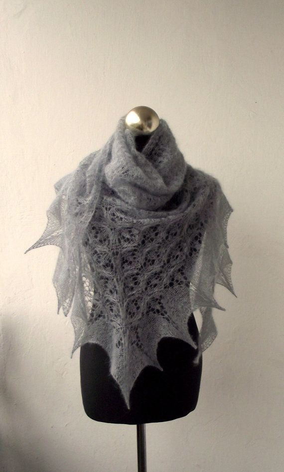 Grey hand knitted kid mohair lace shawl by DagnyKnit