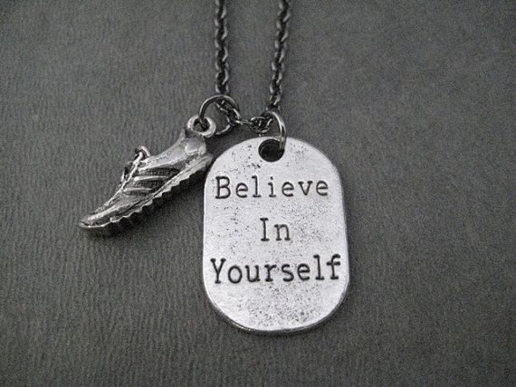 BELIEVE IN YOURSELF Running Shoe Pewter Pendant Necklace - Pewter Running Shoe and Believe Dog Tag Style Charm on 18 in Gunmetal chain - Run