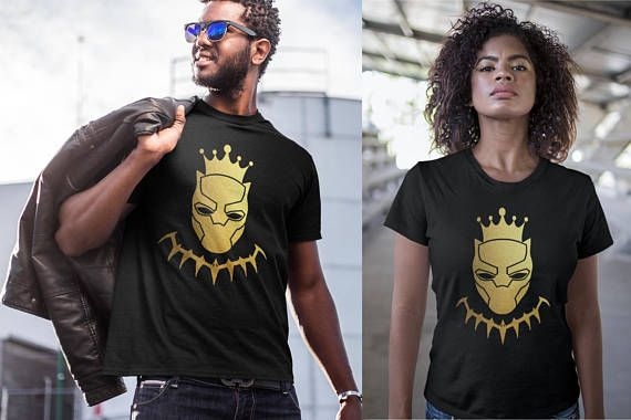 715db511e Black Panther King Gold Foil Wakanda Men Women Kid Shirt T shirt Hoodie  Gold Foil Stamp