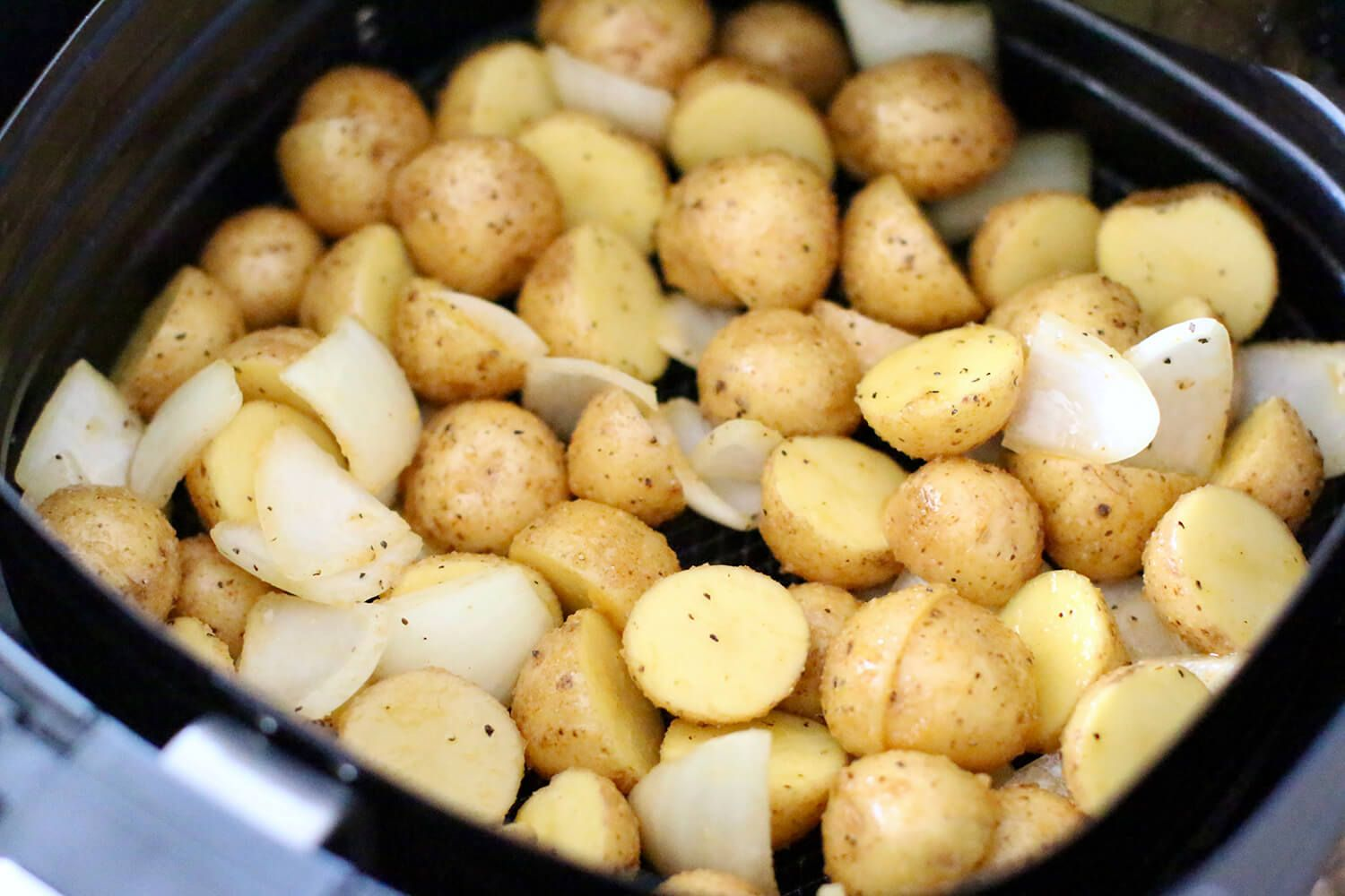 Air Fryer Potatoes and Sausages — The Little Potato