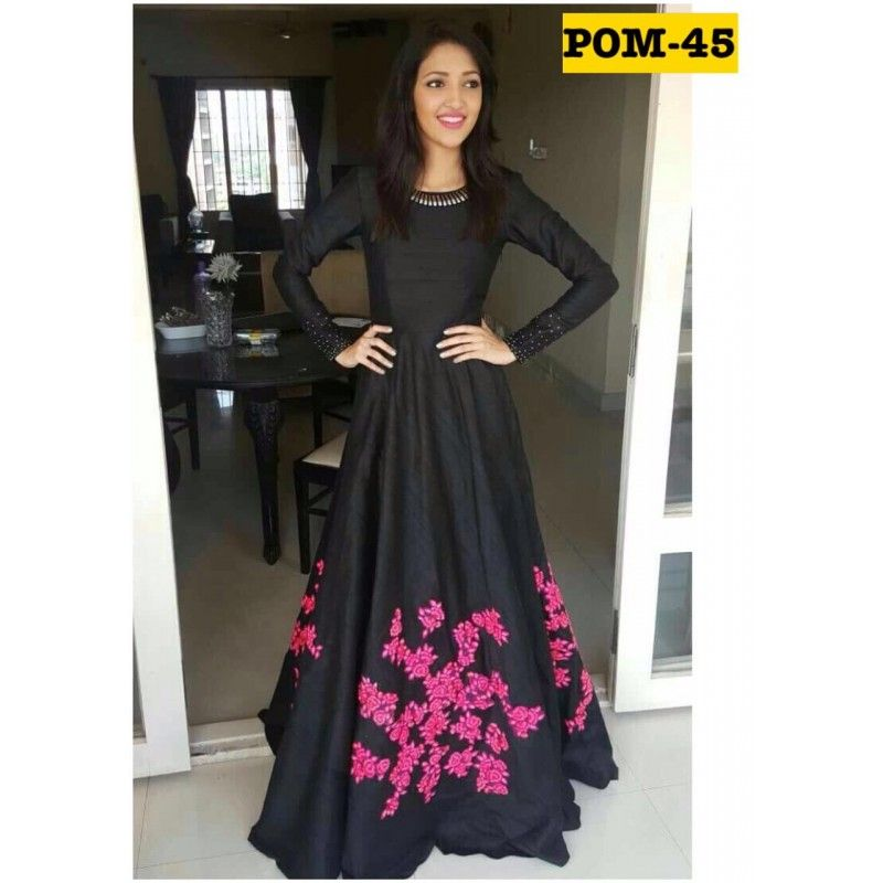 Bollywood Style - Party Wear Black & Pink Gown - POM-45 | gowns ...