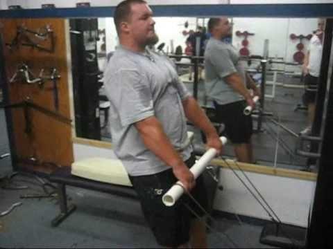 shrugs  homemade thick bar for 546  homemade gym