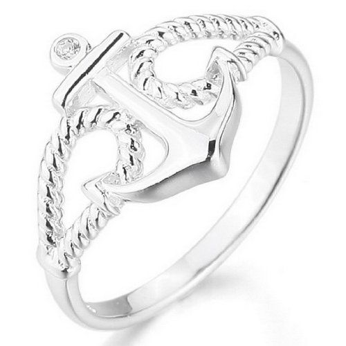 JBlue Jewelry Women s 925 Sterling Silver Ring CZ Silver Anchor Polished  Personalized from hotgirlsclothes.com 9d5988fd116