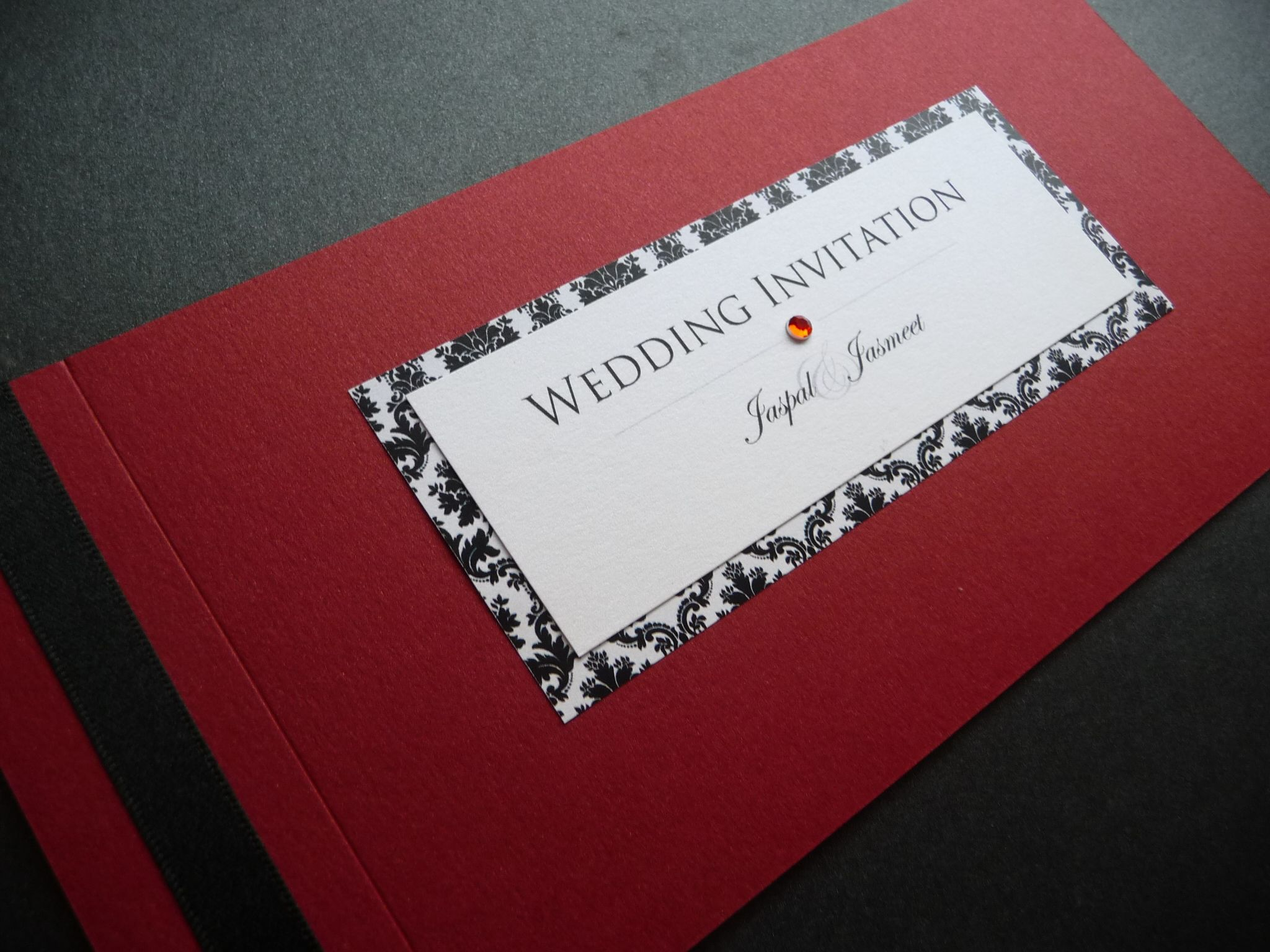 Striking Black, Red & white damask themed Cheque Book style Wedding ...