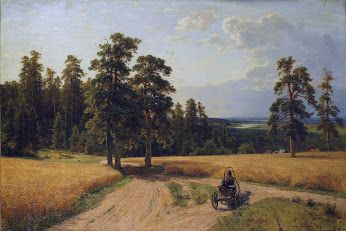 Artist : Ivan Shishkin (Russian , 1832 - 1898) Title : At the edge of the pine forest .