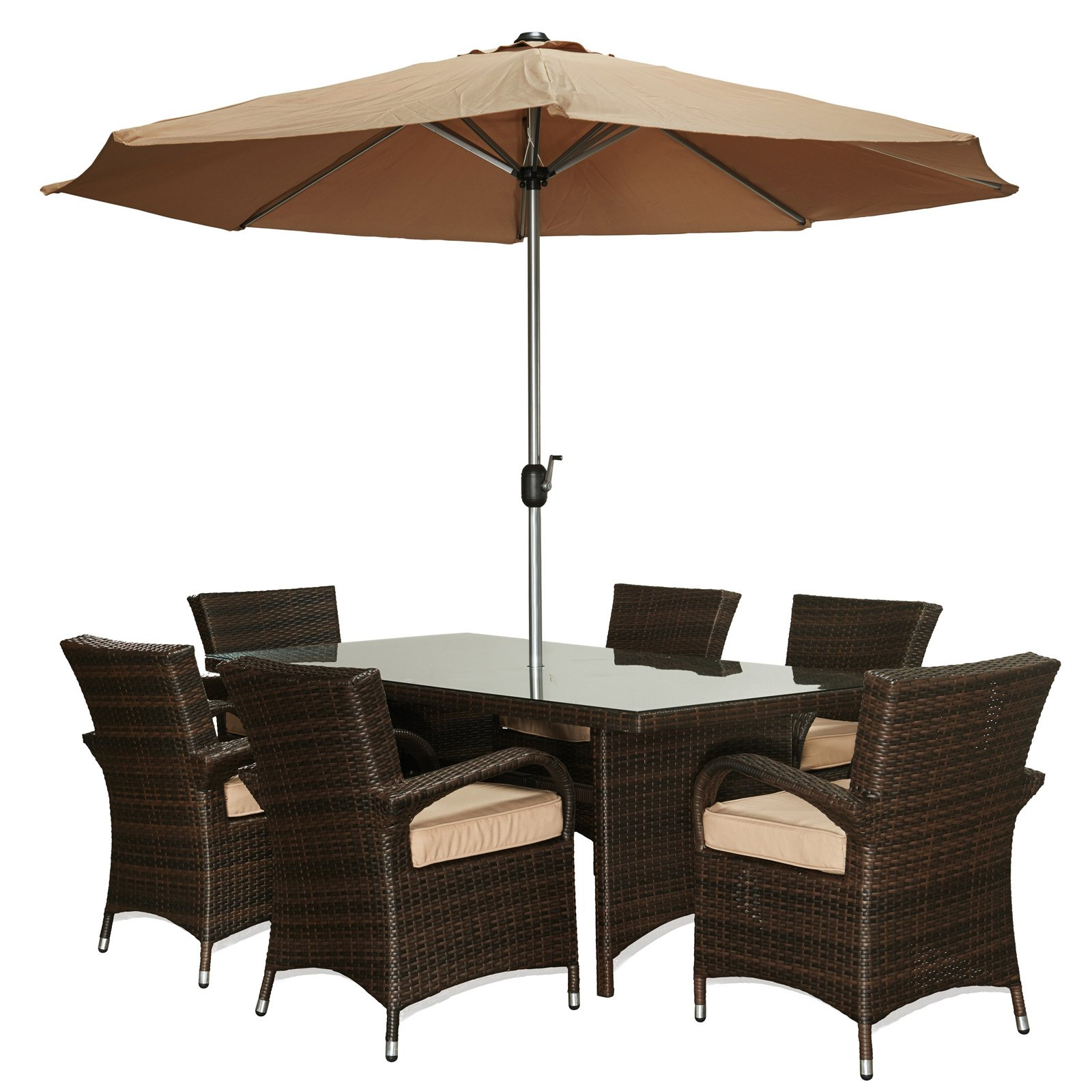 W Unlimited Crystal Collection 8 Piece Wicker Outdoor Patio Dining
