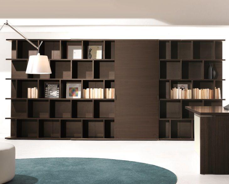 Bibliothèque de rangement design LARUS hauteur 207 cm avec porte - creer une porte coulissante