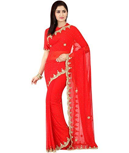 Indian Ethnic Faux Chiffon Red Bridal  Wedding Saree -- You can get more details by clicking on the image.