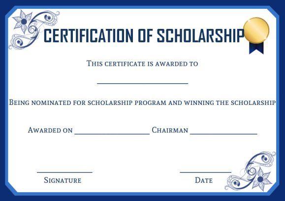 Academic scholarship certificate template Scholarship certificate - certificate layout