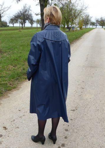 Kleppermantel Damen Rillo Regenmantel Gr 42 Blau Kleppermantel Regenmantel Mantel