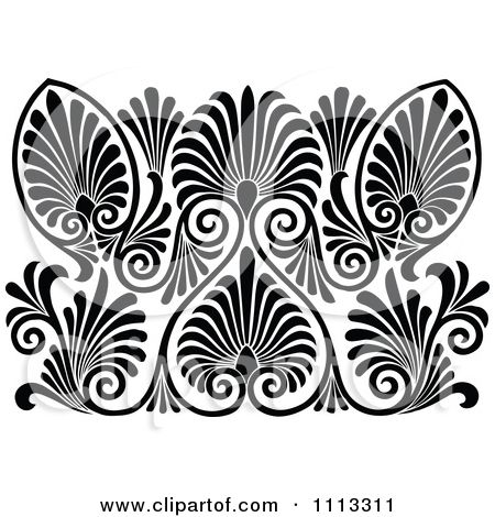 Clipart Vintage Black And White Art Deco Pattern Royalty Free