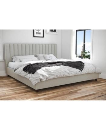 Novogratz Brittany Upholstered King Bed Gray Upholstered Beds