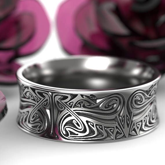 Engraved Norse Wedding Ring With Dramatic Design In Sterling Etsy In 2020 Mens Jewelry Celtic Wedding Rings Rings For Men