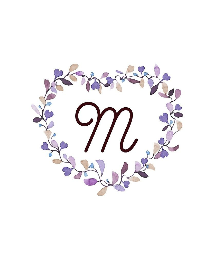 Monogram M Little Lilac Hearts By Floralmonogram In 2020