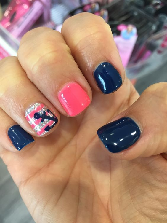 Nautical | 18 Easy Summer Nail Art for Short Nails - 23 Easy Summer Nail Art For Short Nails Nail Art Pinterest