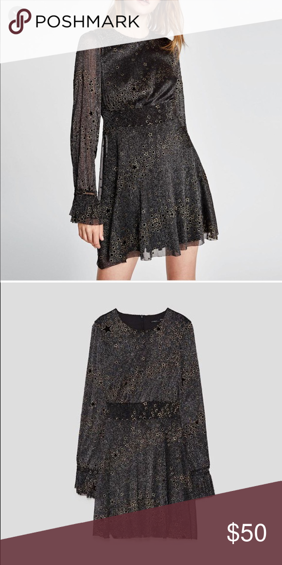 6e62434c Dress Zara star dress black gold and a hint of silver ( not much but it's