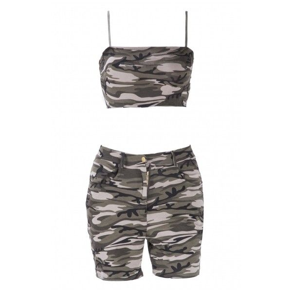 6bdb4e569325d Sexy Camouflage Spaghetti Strap Sleeveless Cropped Top Co-ords ( 33) ❤  liked on Polyvore featuring tops