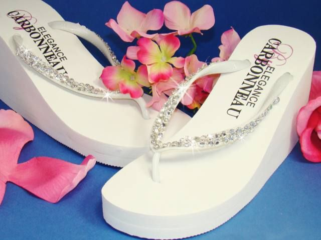 Crystals High Wedge Bridal Flip Flops White Are The Perfect Pair Of Platform Wedding For Bride And Her Bridesmaids