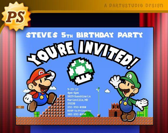 Mario Kart 8 Birthday Ticket Invite Customizable Printable – Mario Kart Party Invitations