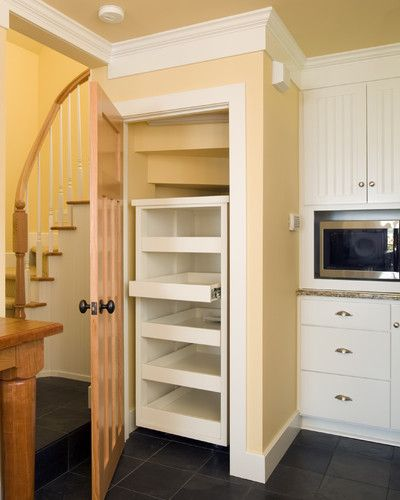 Kitchen Pantry Built In Under The Stair With With Pullout Shelves Left Of Built In Oven Closet Under Stairs Under Stairs Pantry Built In Pantry