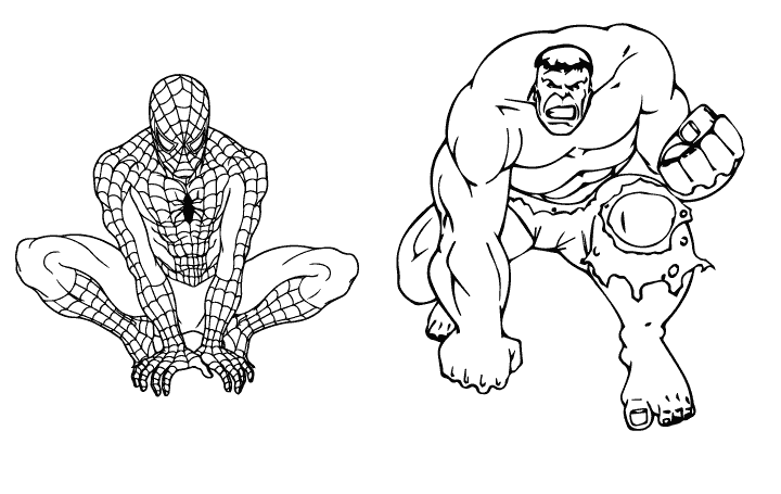 Spiderman and Hulk Coloring Page | Coloring Pages | Pinterest ...