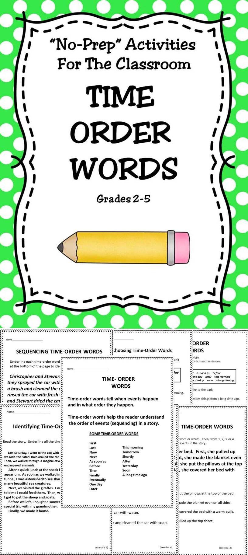 Time Order Words Time Order Words Reading Comprehension Worksheets Language Arts Lessons [ 1824 x 816 Pixel ]