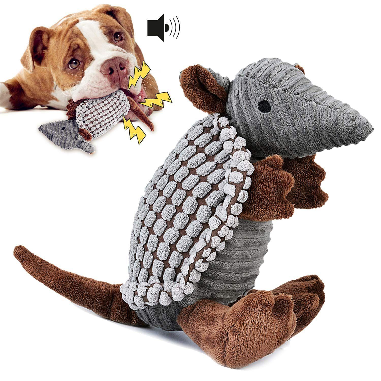 Legendog Dog Plush Toy Chew Squeak Toy Interactive Armadillo Dog