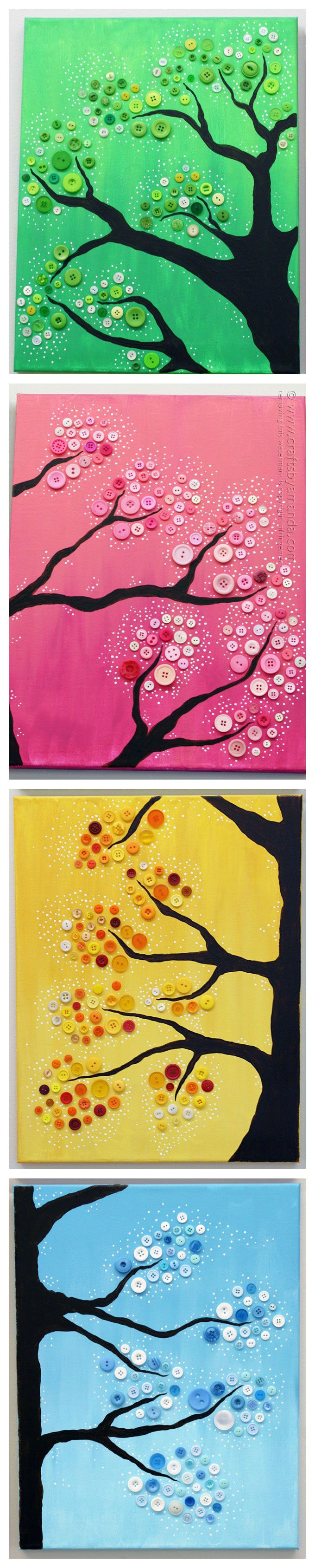 4 Seasons Button Tree Wall Art by Amanda Formaro, Crafts by Amanda ...