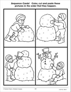 building a snowman sequence cards educational activities pinterest snowman activities. Black Bedroom Furniture Sets. Home Design Ideas