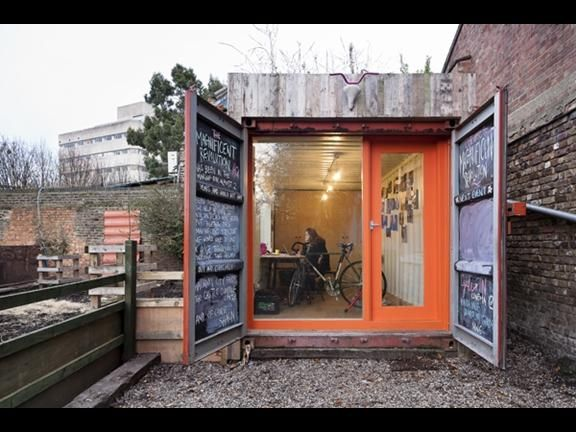 converted shipping container named london s best office. Black Bedroom Furniture Sets. Home Design Ideas
