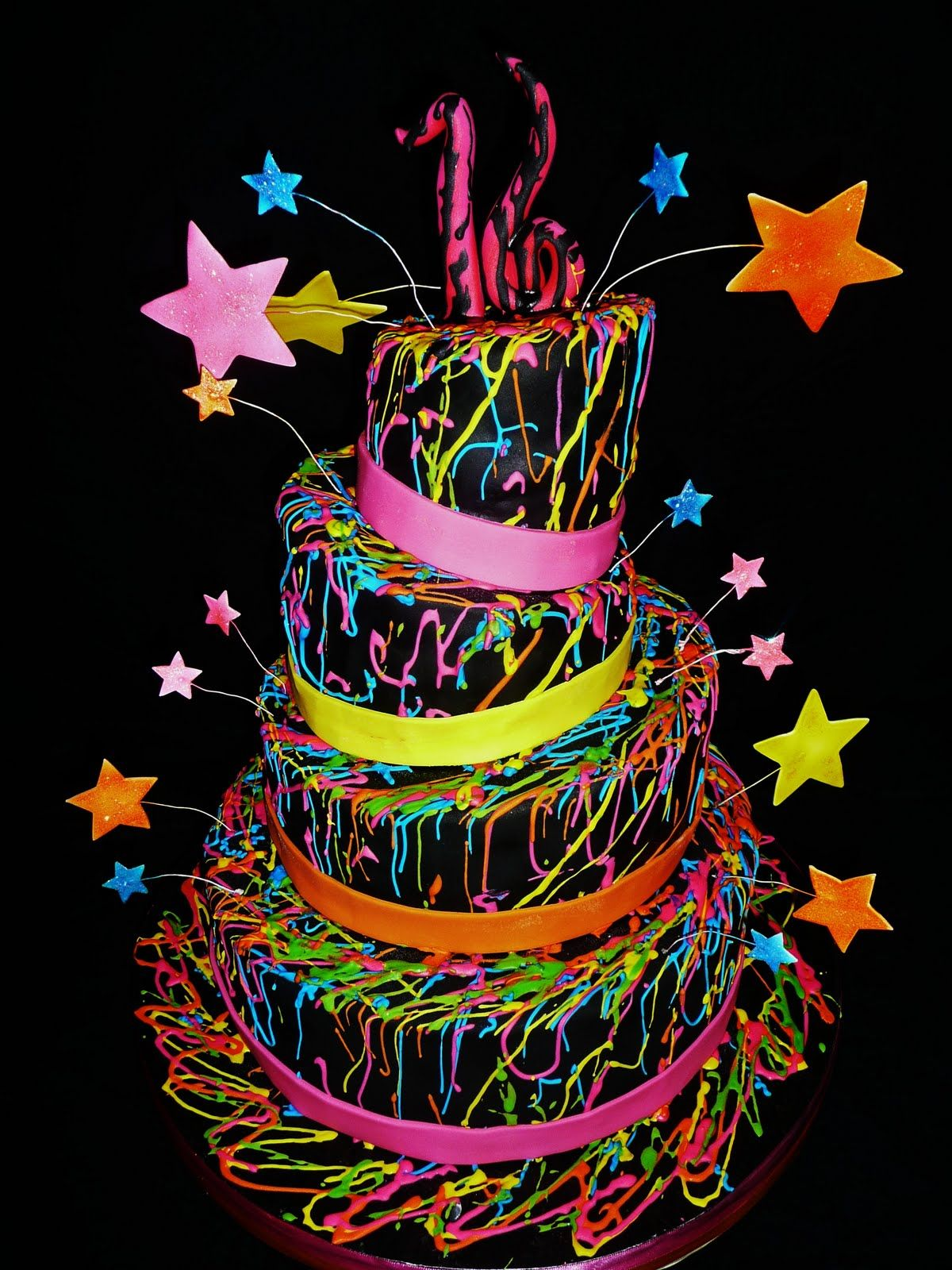 Pinterest Sweet  Themes Miami Dance Party Sweet  Glow In - Neon birthday party cakes