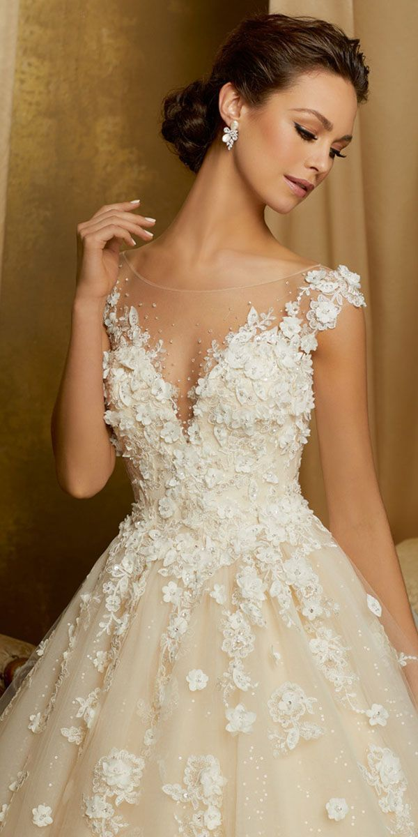 Stunning Tulle & Sequin Tulle Scoop Neckline A-line Wedding Dress With Lace Appliques & 3D Flowers & Beadings #weddingdress