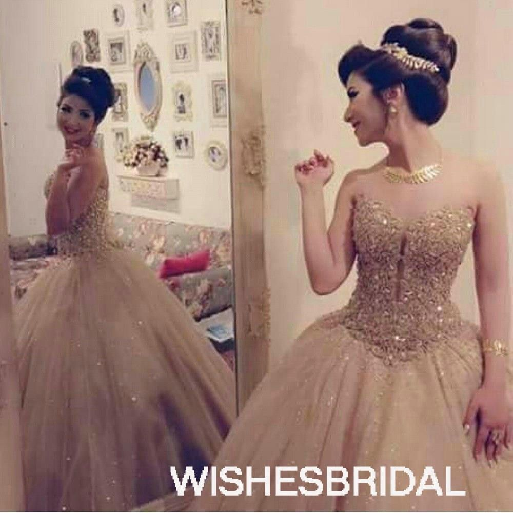 Gold sweetheart tulle sweep train luxurious sleeveless ball gown