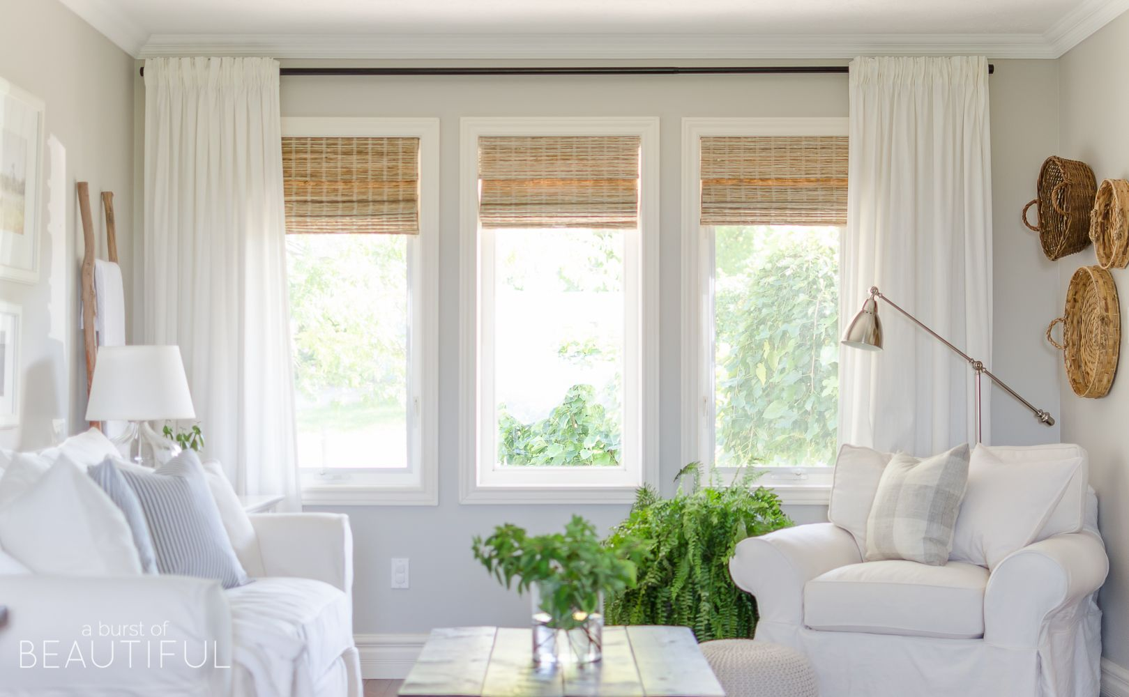 Woven wood shades in our living room farmhouse living for Decor blinds and shades