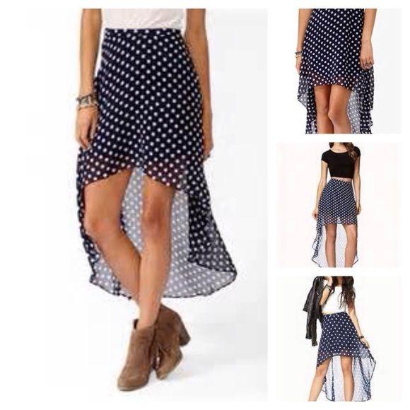 Forever 21 polka-dot Hi-Lo skirt Blue polka-spotted High/low skirt. Forever 21 Skirts High Low