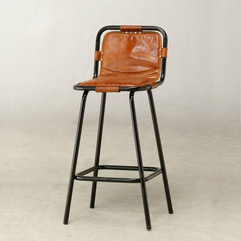 Vintage Factory bar stool featuring a tubular steel frame