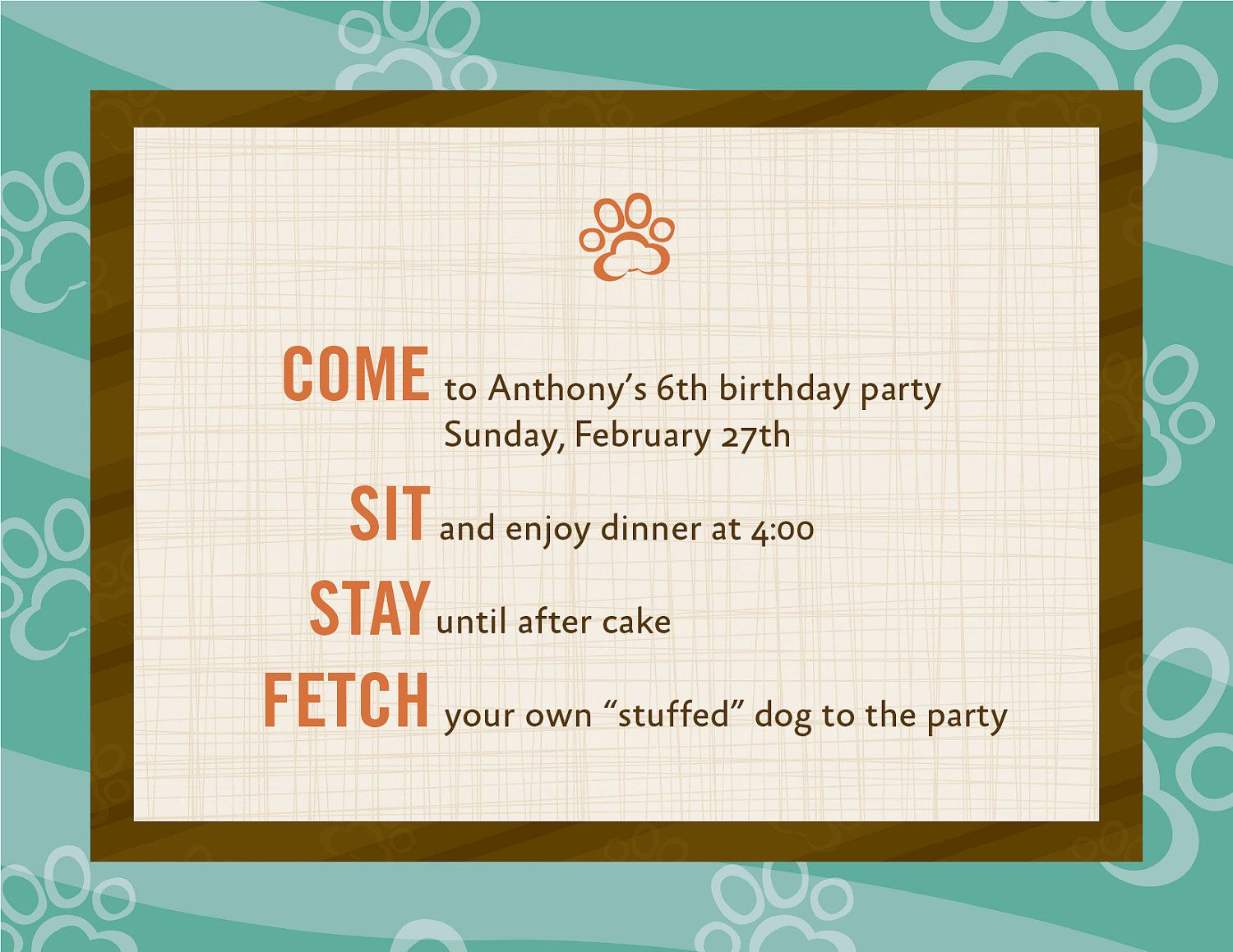 Dog Theme Birthday Invitations 12 20 00 Via Etsy Puppy Party