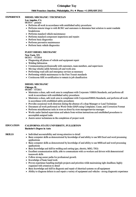Resume Examples Diesel Mechanic Resume Templates In 2020