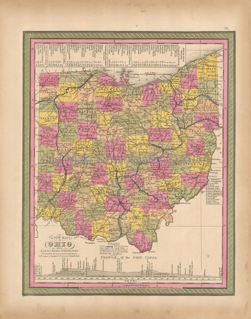 Ohio OH State Old Map Mitchell 1847 Digital Image Scan Download