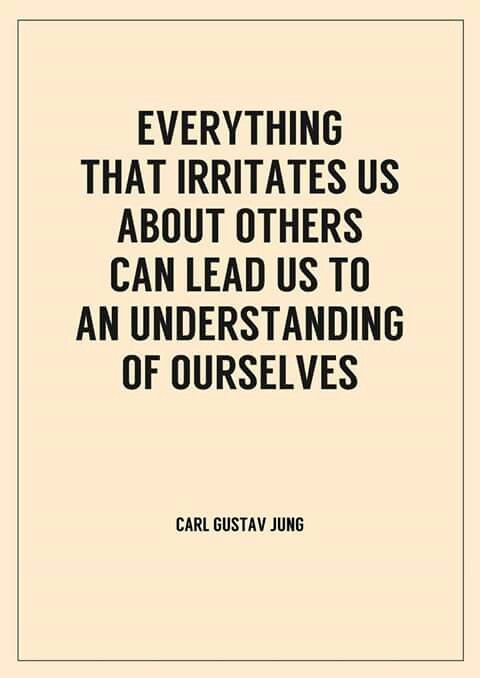 """""""everything that irritates us about others can lead us to an  understanding of ourselves."""" ~ Carl Jung"""