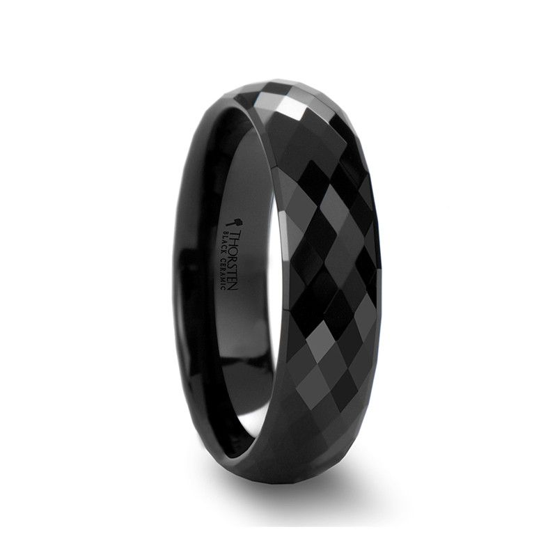 Leo Black Ceramic Wedding Band For Men Women Black Rings Tungsten Jewelry Ring Size Guide