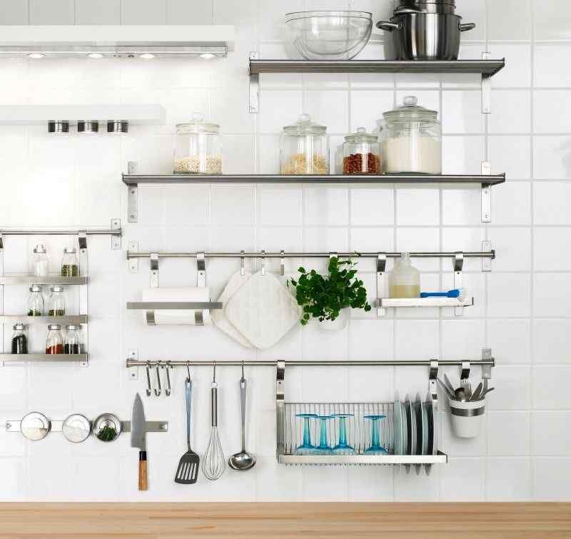metal kitchen shelves lighting fixtures pin by erin olinger on for the home stainless steel wall store paris storage